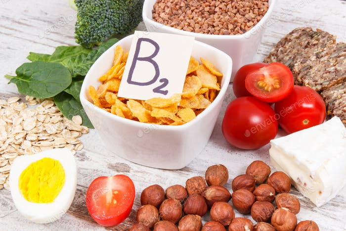 Products and ingredients containing vitamin B2 and dietary fiber, healthy nutrition concept