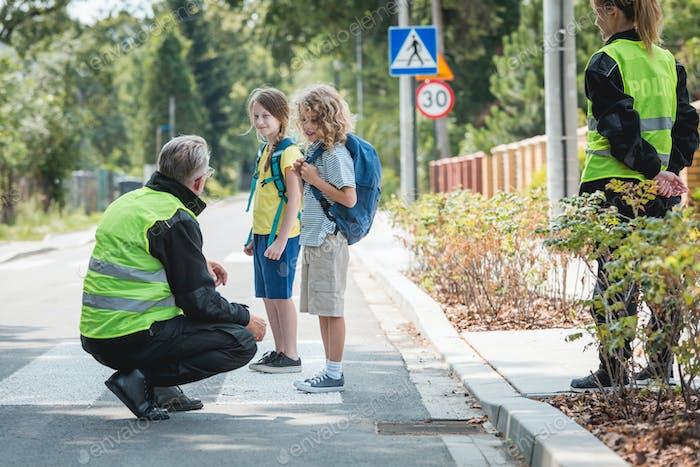 Policeman crouching