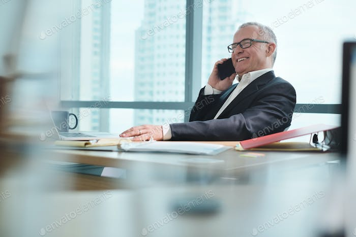 Businessman Working In Office With Computer And Talking On Phone