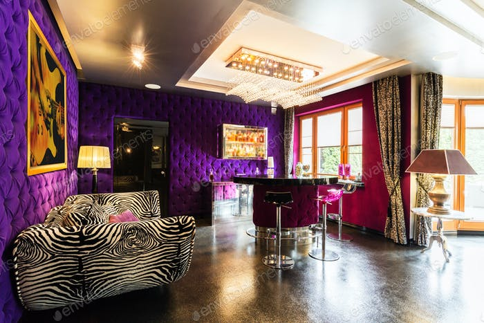 Modern living room with zebra sofa
