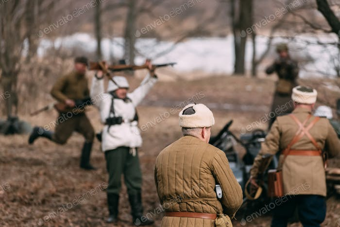 Re-enactors Dressed As Russian Soviet Soldiers Of World War II P