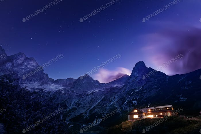 Night view on Tatra Mountains from Zelene pleso lake valley, Slovakia, Europe