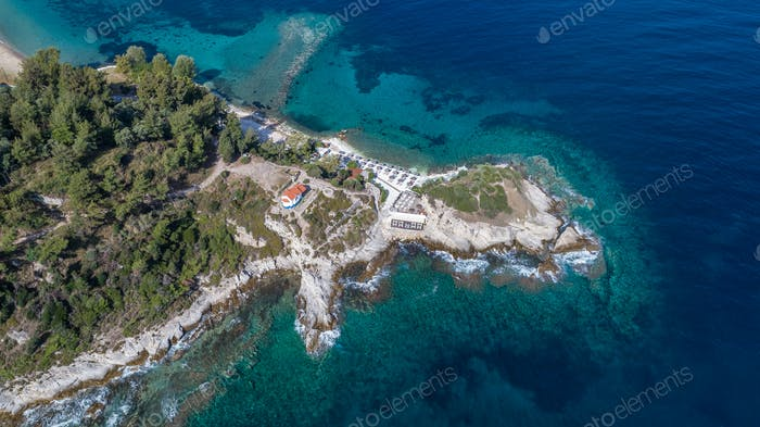 the head of Evreokastro in Limenas. Thassos, Greece