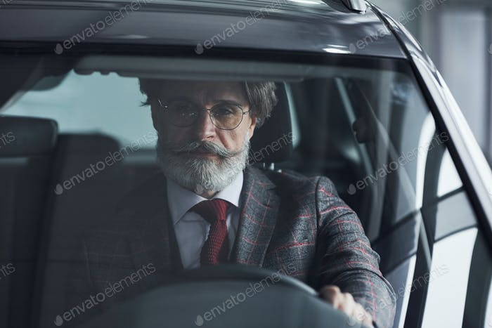 Senior businessman in suit and tie with gray hair and beard driving the car