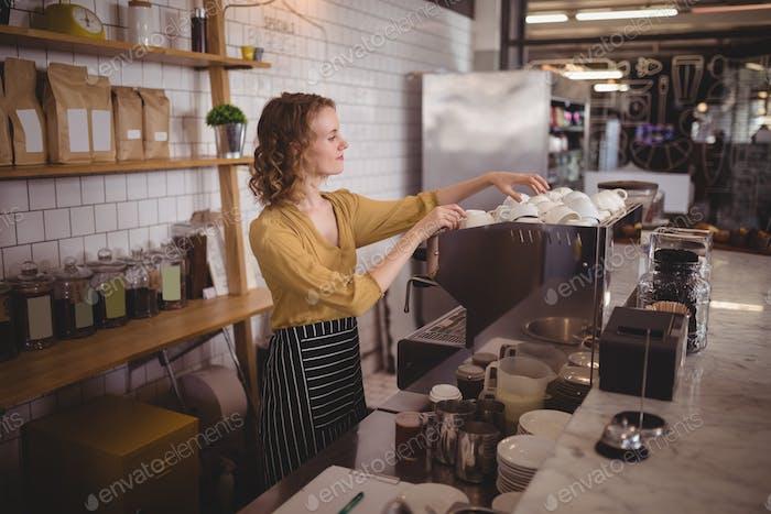 Young waitress arranging cups at counter