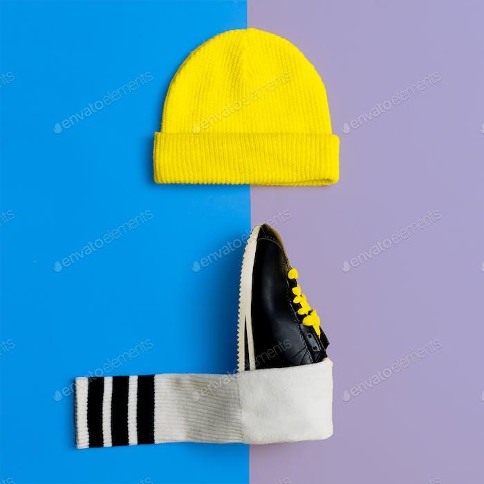 Cap Sneakers Flat Lay