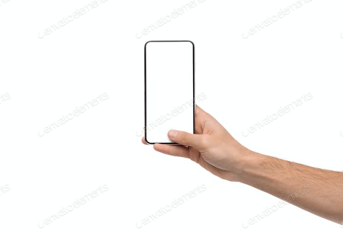 Man demonstrating modern smartphone with blank white screen