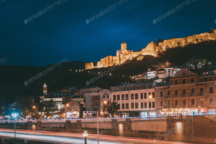 Tbilisi Georgia. Narikala Ancient Fortress In Evening Night Illu