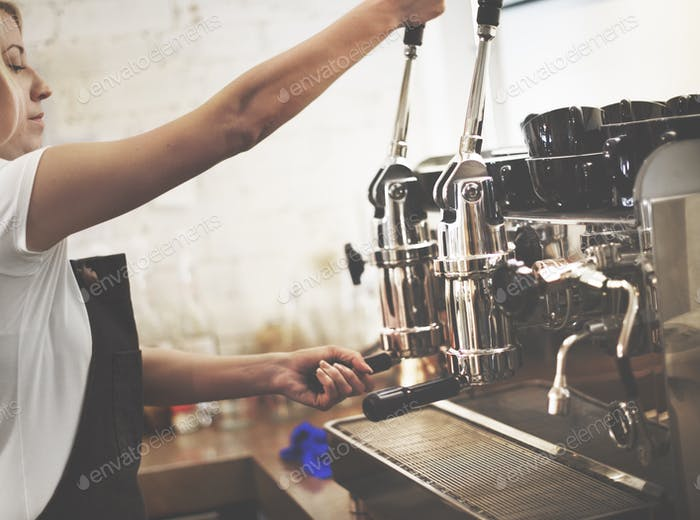 Coffee Machine Portafilter Steam Barista Shop Concept