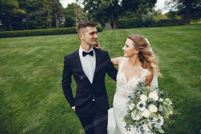 Elegant wedding couple