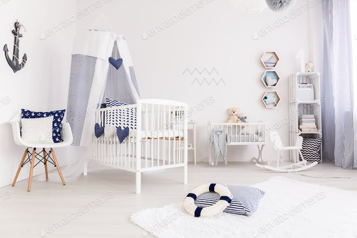 Baby bedroom in marine style