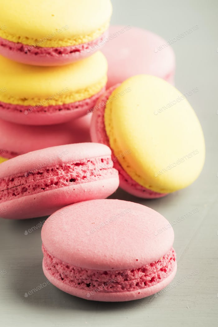 Pink yellow macaroons