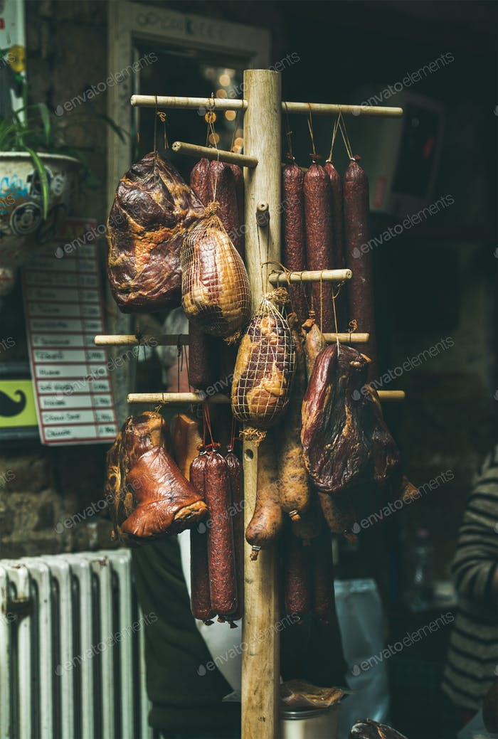 Variety of traditional Hungarian smoked meat and sausages