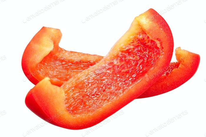 Red bell pepper slices c. annuum, paths
