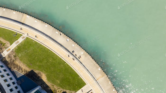 Aerial View People on Walkway Lake Michigan Chicago