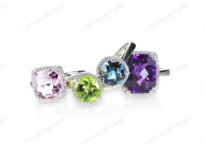 Multi colored fine gemstone ring grouping set
