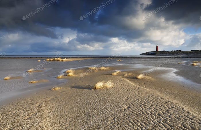 sand beach and lighthouse by North sea