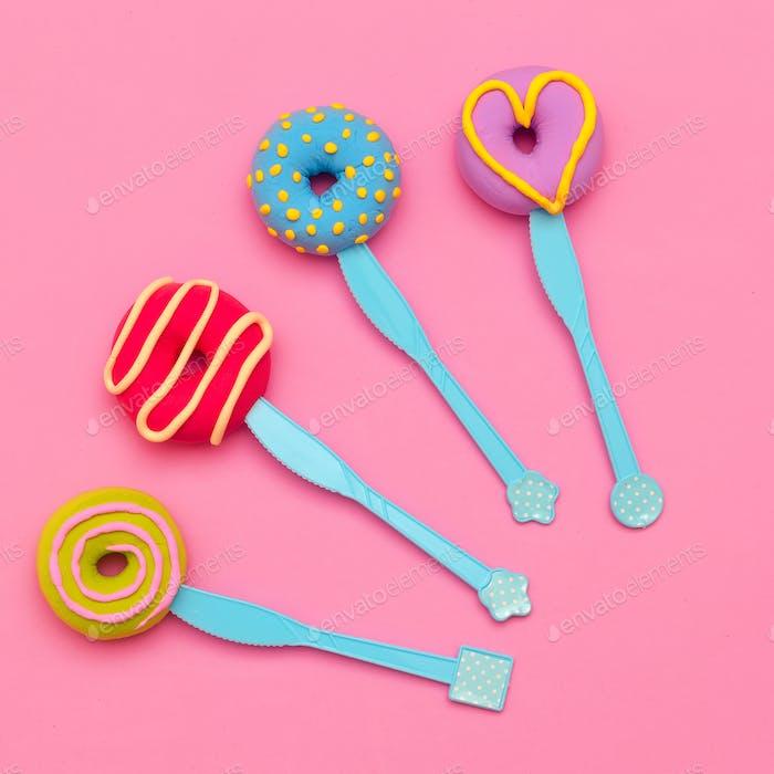 Fashion Donuts Set. Candy Minimal Flatlay art.