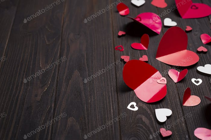 frame of Red paper hearts media love putting