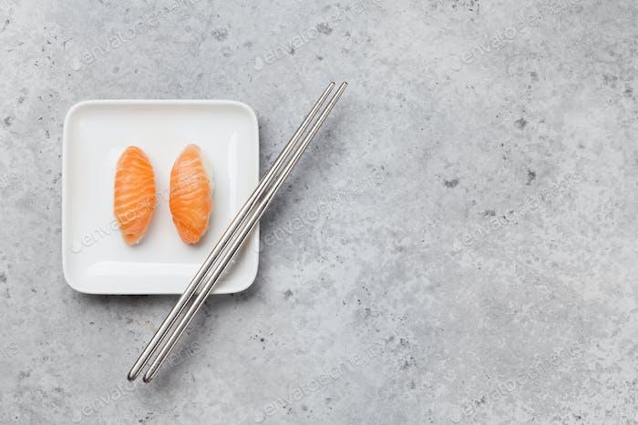 Japanese sushi set with salmon