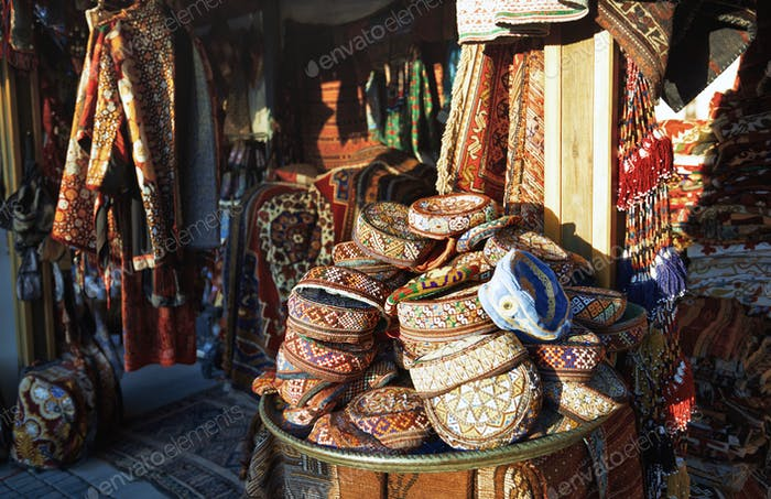 Gift shop at the street market in Istanbul. Turkey