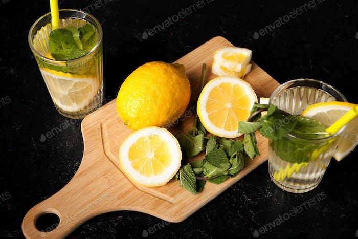 Healthy lemonade made of organic fruits