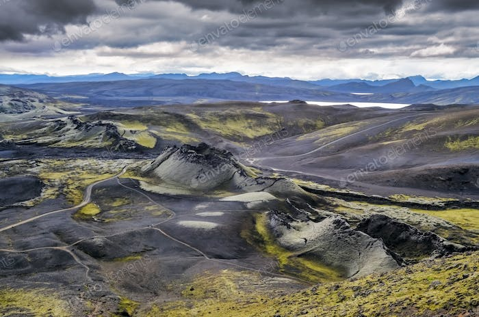 Volcanic landscape with mountains and volcano craters, Iceland