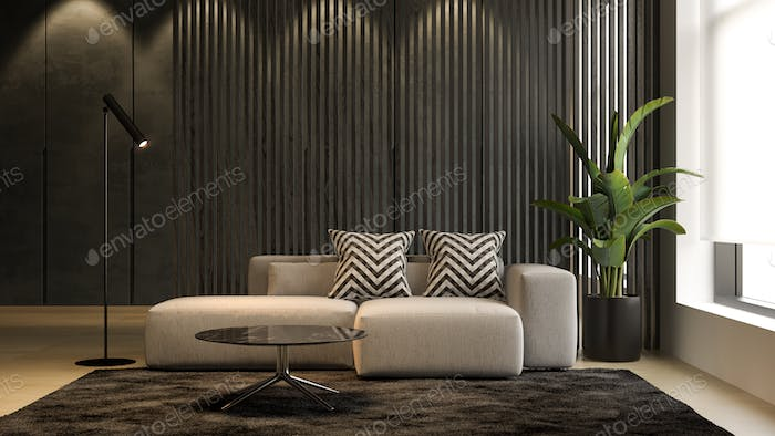 Interior of modern living room with sofa 3 D rendering