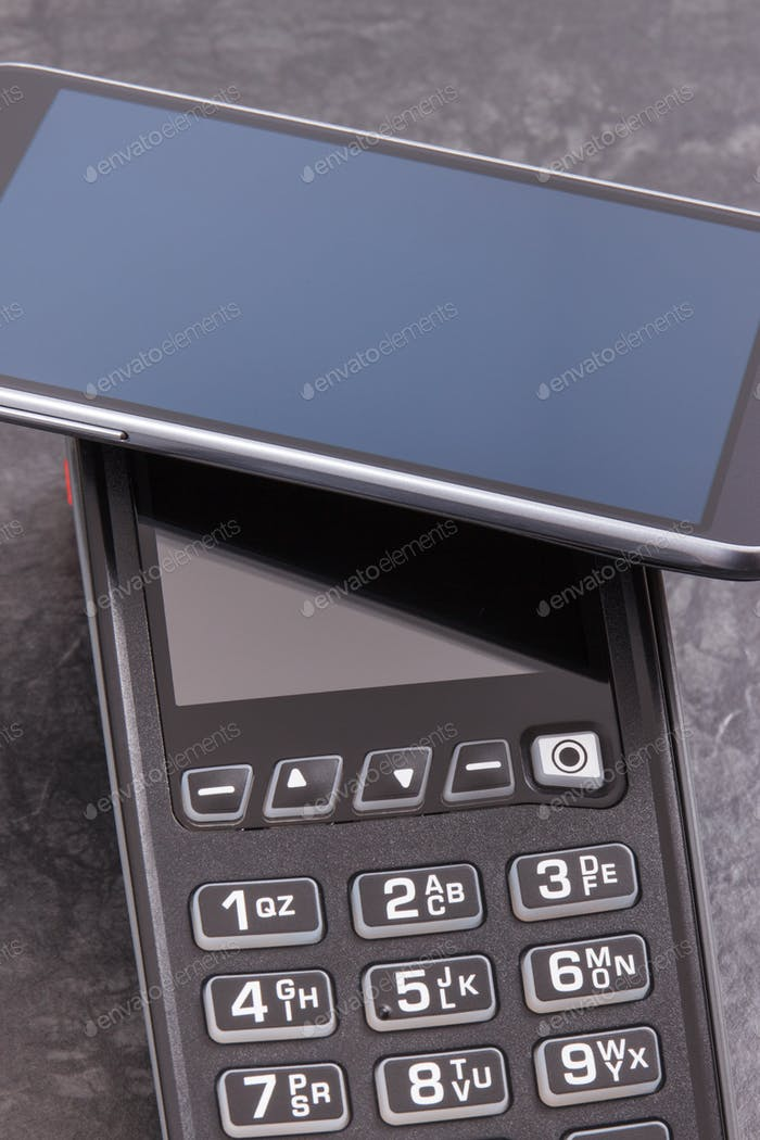 Payment terminal and smartphone with NFC technology using for cashless paying