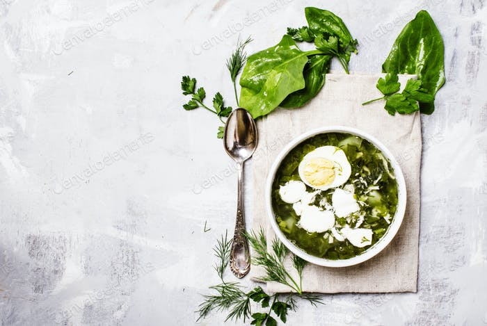 Traditional Russian soup with sorrel, meat and eggs