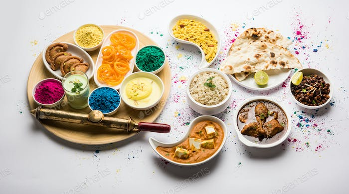 Lunch or dinner menu for Indian Festival called Holi