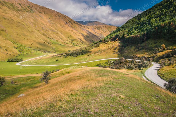 Winding Road in the  Moke Lake Valley near Queenstown