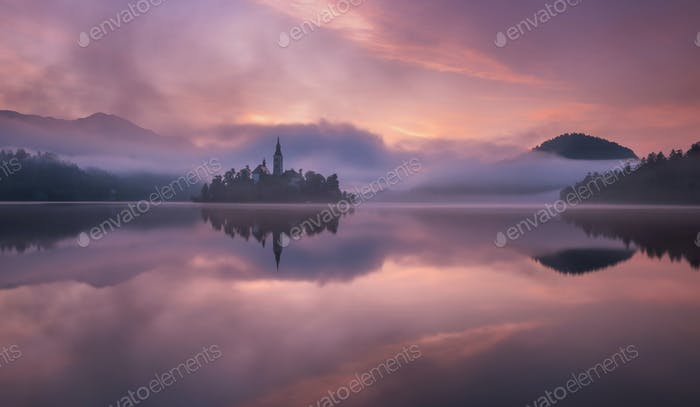 Lake Bled on a beautiful summer morning