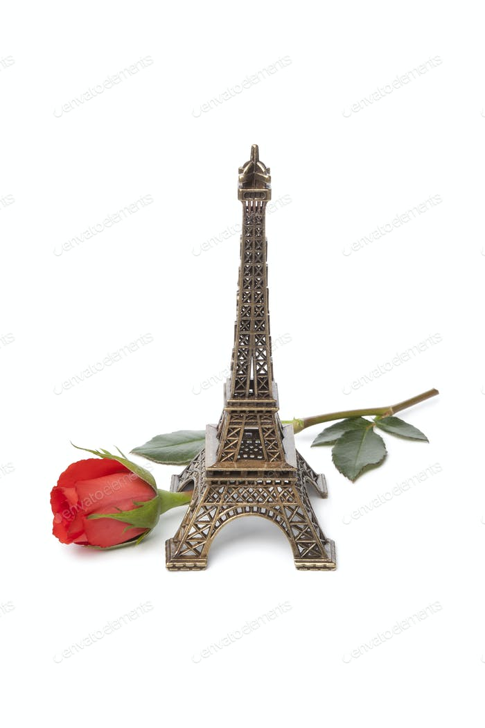 Eiffel tower souvenir with a red rose