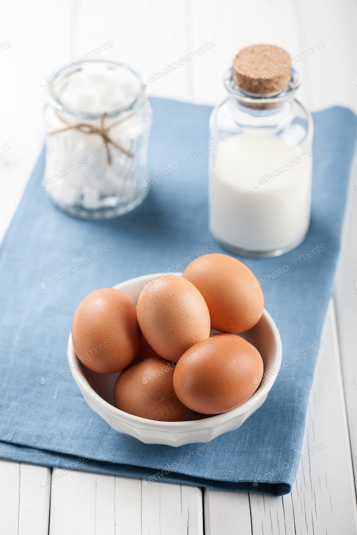 Eggs, milk and white sugar