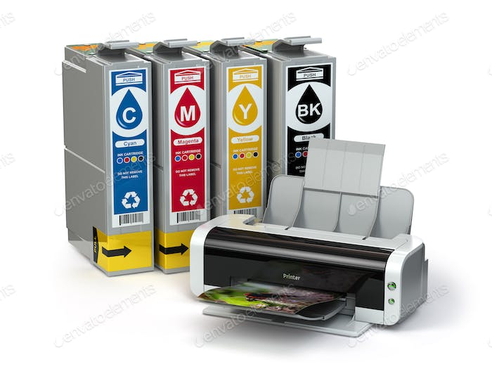 Inkjet CMYK cartridges and printer isolated on white