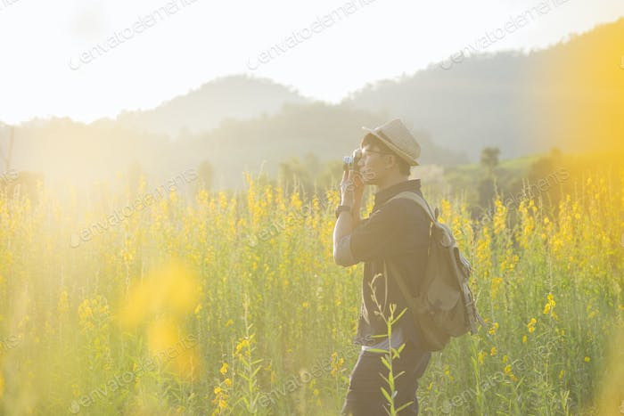 Photographer travel to take photo of outdoor nature.