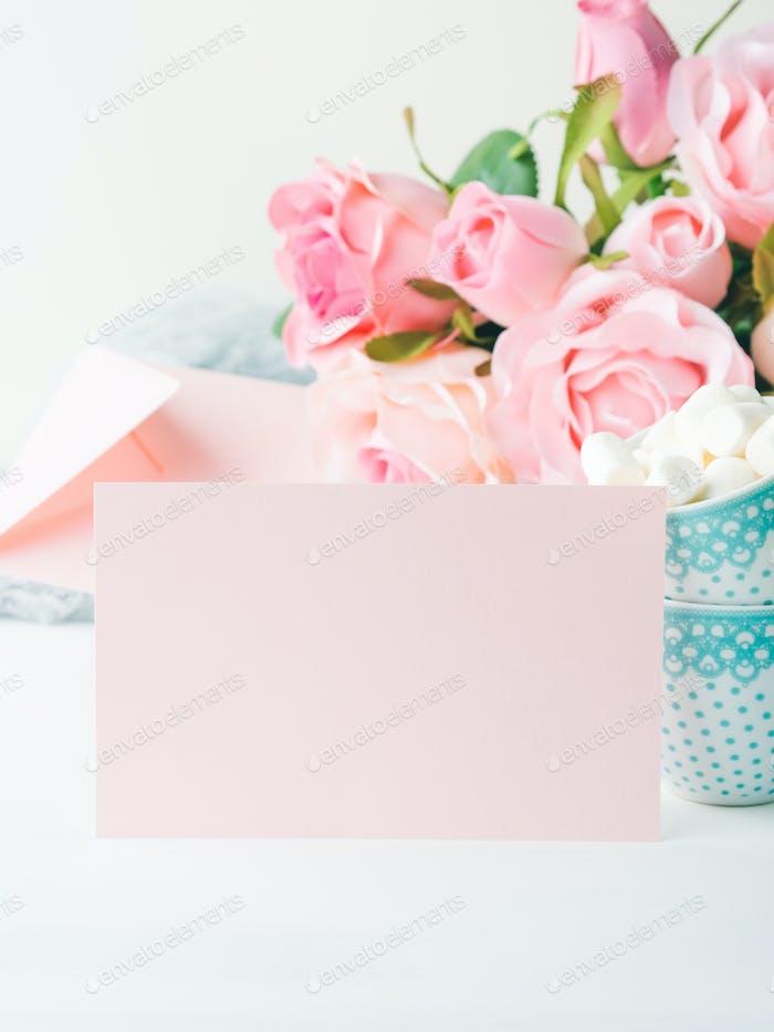 Blank paper pink card Valentine's day invitation