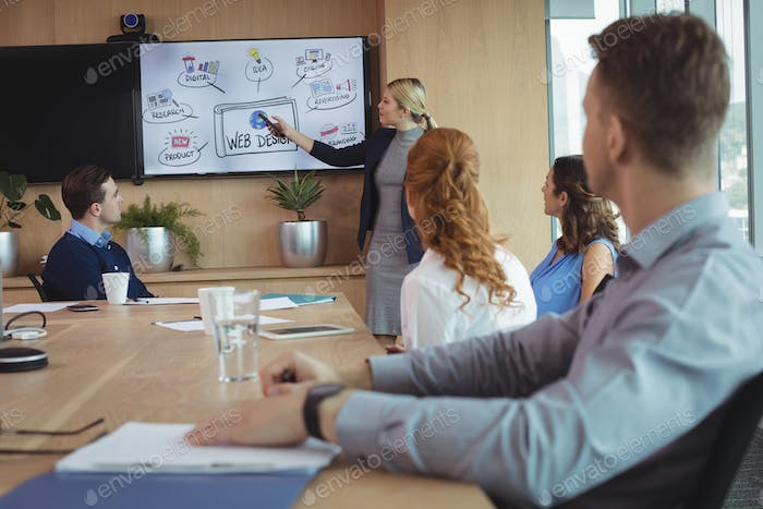 Young businesswoman discussing with colleagues over whiteboard during meeting