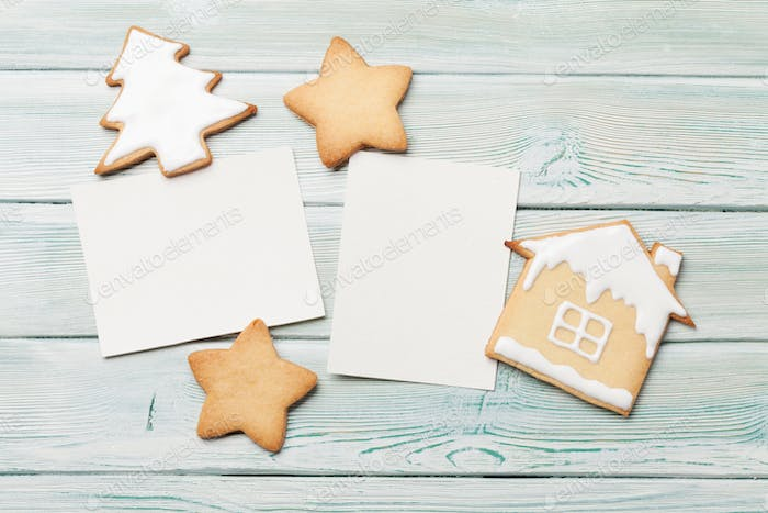 Christmas photo frames with gingerbread cookies