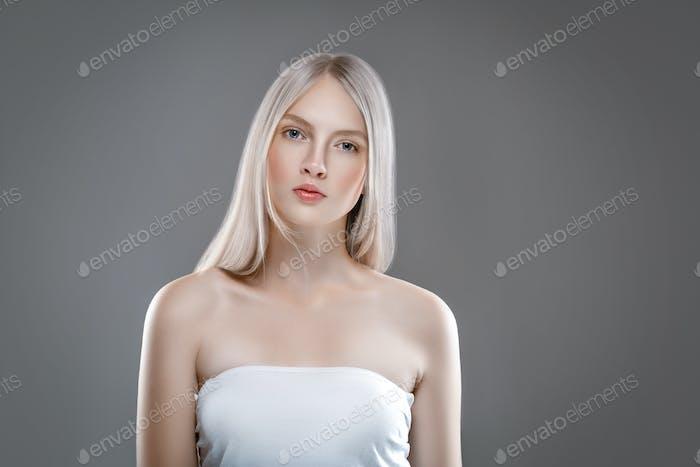 Woman Clean Skin Blonde hair netural Beauty healthy Skin Care