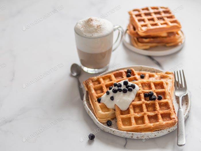 Breakfast belgian waffles, cappuccino. Copy space