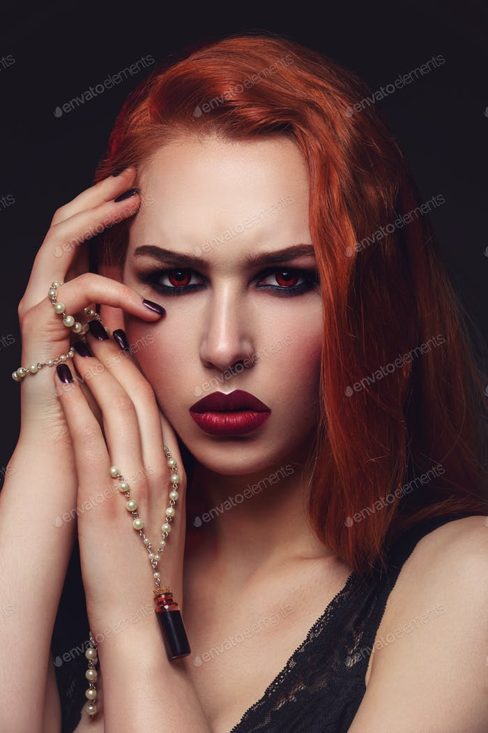 Beautiful vampire young woman