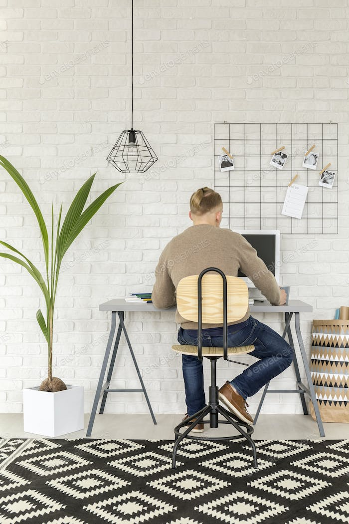 Home office with decorative houseplant