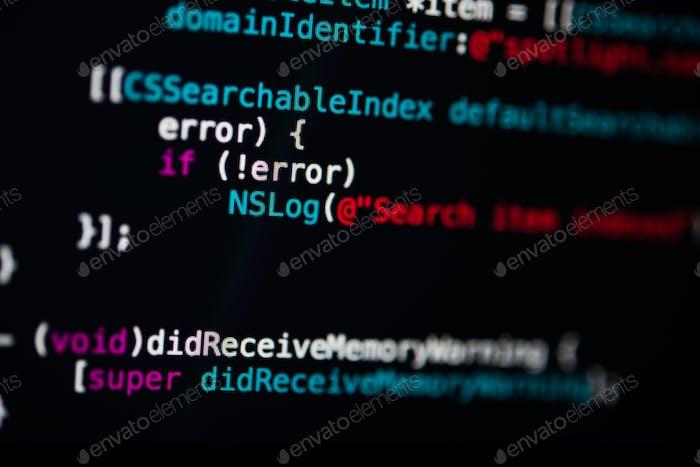 Programación de código de fondo de tecnología abstracta del desarrollador de software.