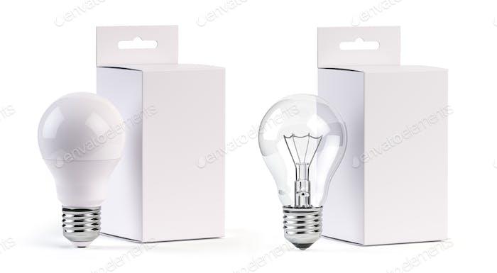 Bombillas eléctricas LED e incandescentes con caja de papel en blanco aislada en blanco. Mock up
