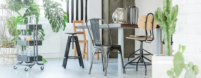 Metal and wooden furniture
