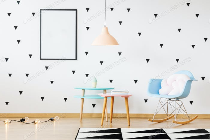 Tables in bright kid's room