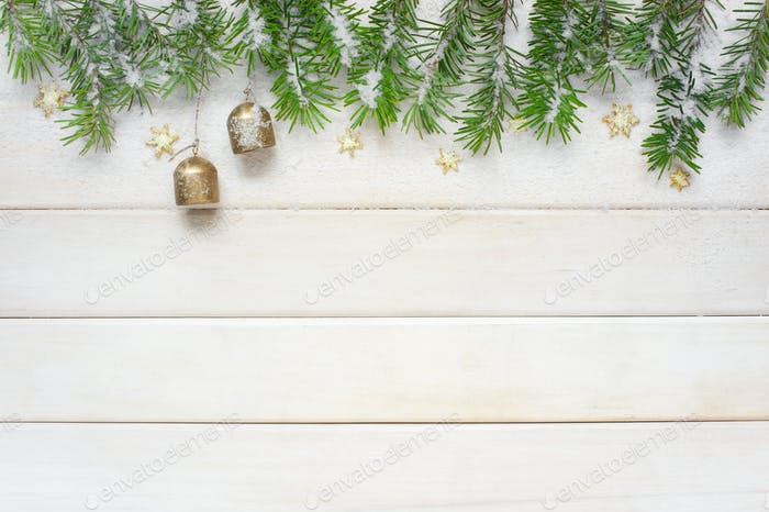 White Christmas Background with Fir Branches