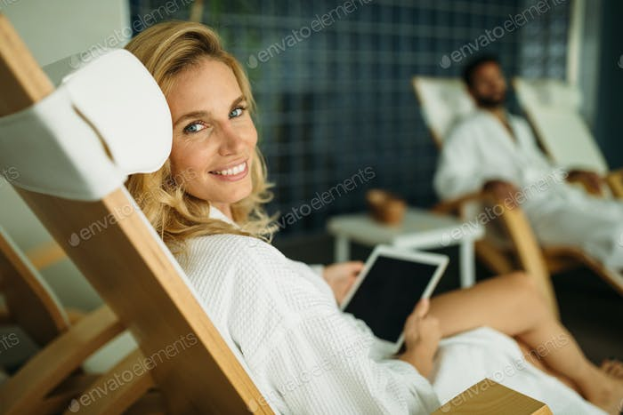 Portrait of a beautiful healthy woman relaxing